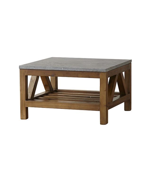 Crate and Barrel Bluestone Square Coffee Table