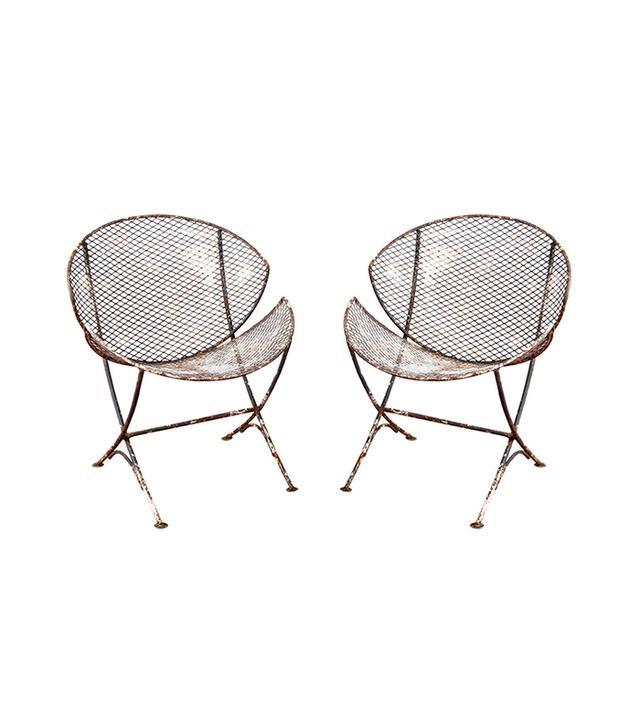 1stdibs Mesh Metal Saucer Outdoor Chairs