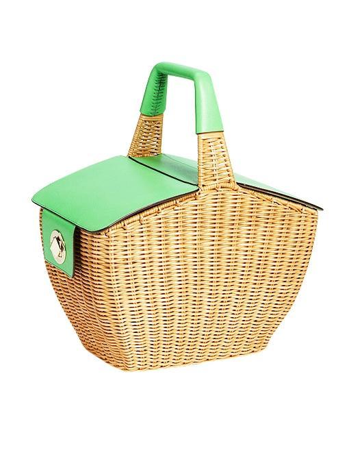 """<a href=""""http://shop.nordstrom.com/S/kate-spade-new-york-linden-wicker-basket/3284459?origin=keywordsearch&resultback=3763"""" target=""""_blank"""">Linden Wicker Basket</a> ($428) in Natural/Green"""