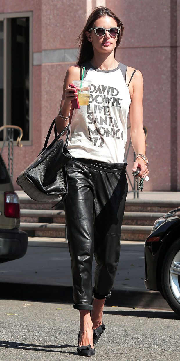 e8680104436f Alessandra Ambrosio shows us the right way to wear leather trousers in Los  Angeles.