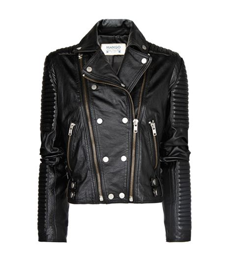 "<p>Mango <a href=""http://rstyle.me/n/ei3w9ch9e"" target=""_blank"" title=""Leather Biker Jacket"">Leather Biker Jacket</a> ($290)</p>"