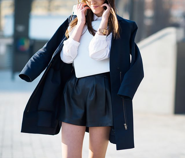 Basic Button-Up Blouse + Leather Shorts