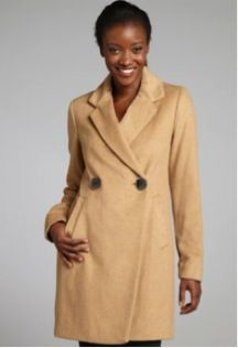 Vince Camuto  Camel Wool Blend 2-Button Coat