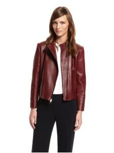 DKNY  Lamb Leather Classic Band Collar Moto Jacket