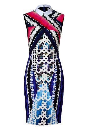 Peter Pilotto  Lace Blue-Multi Sleeveless Sheath Dress