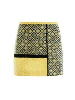 MSGM  Raffia Tweed Patchwork Skirt