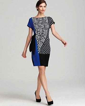 Calvin Klein  Colour Block Side Tie Dress