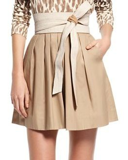 DKNY  Coated Cotton Twill Pleated Skirt