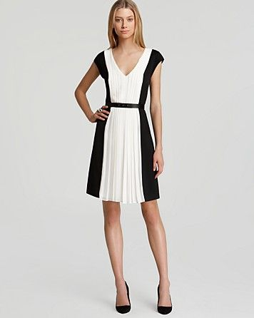 DKNYC  Cap Sleeve Colour Block Pleat Dress