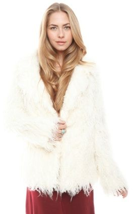 Free People  White Faux Fur Jacket