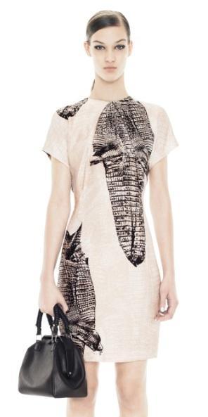 Acne  Sweety Kroko Black/Beige Print Dress