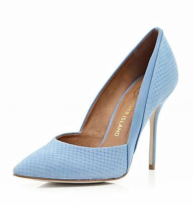 River Island  Blue Snake Panel Pointed Court Shoes