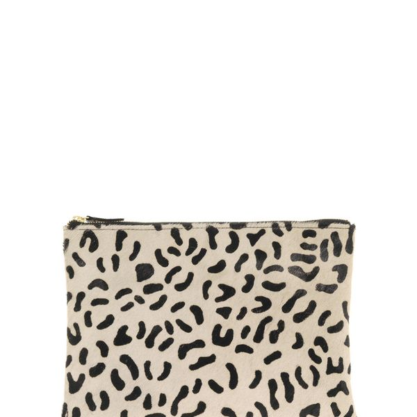 ASOS Leather Clutch Bag with Faux Animal Print