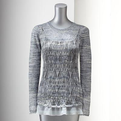 Simply Vera Vera Wang Space-Dye Open-Work Sweater