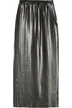MICHAEL Michael Kors Pleated Metallic Chiffon Maxi Skirt