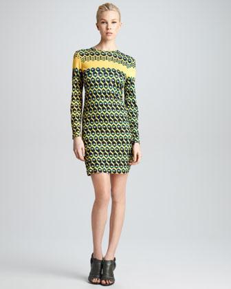 Derek Lam Honeycomb-Print T-Shirt Dress