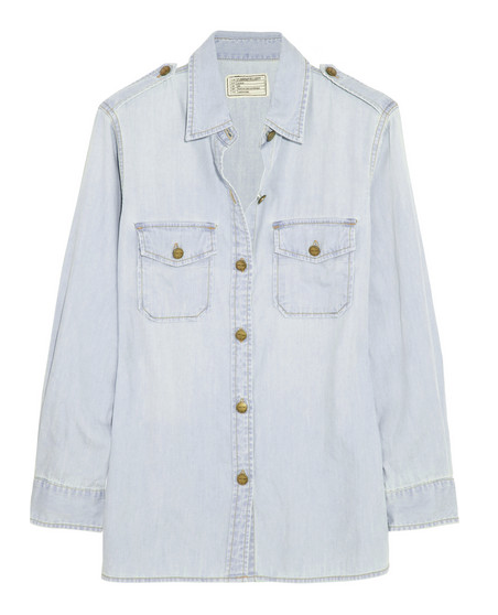 Current/Elliott The Perfect Cotton-Chambray Shirt