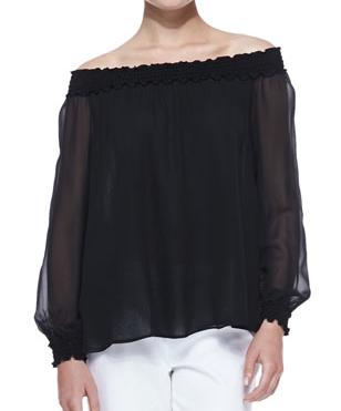 Michael Kors Off-The-Shoulder Silk Top