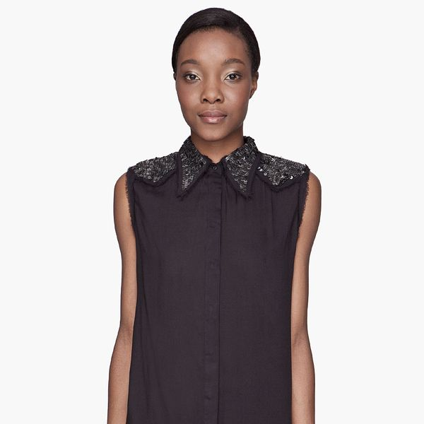 Diesel  Black Boxy Sequined D-Aidil Blouse