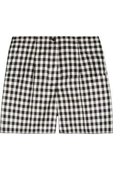 Rochas  Checked Woven-Silk Shorts