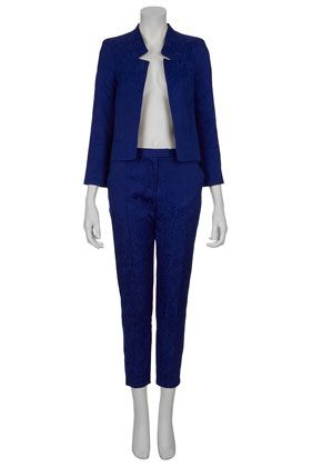 Topshop  Jacquard Notch Neck Jacket and Cigarette Trousers