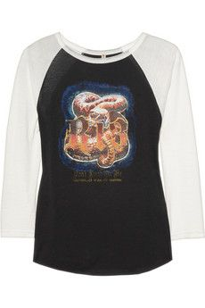 R13 Concert  Printed Cotton-Blend Jersey Top