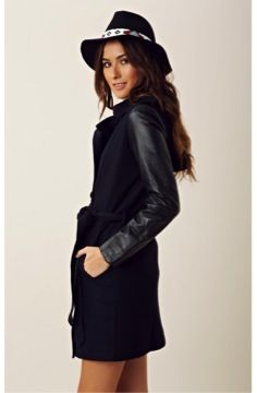 Line & Dot  Leather Sleeve Trench
