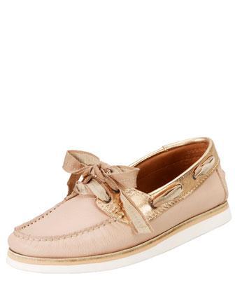 Lanvin Metallic-Trimmed Boat Shoes