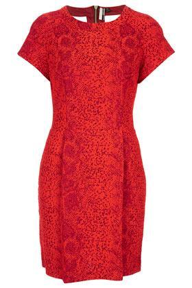 Topshop Red Snake Shift Dress