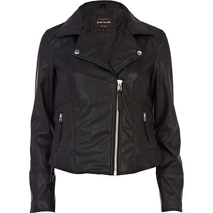 River Island Black Fringed Leather Biker Jacket