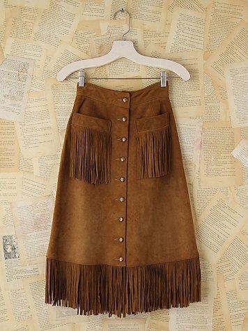 Free People Vintage Suede Fringe Trimmed Skirt