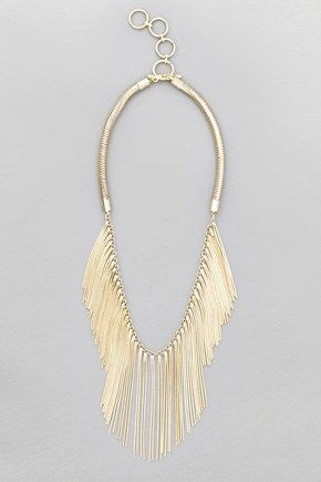French Connection Snake Chain Fringe Necklace