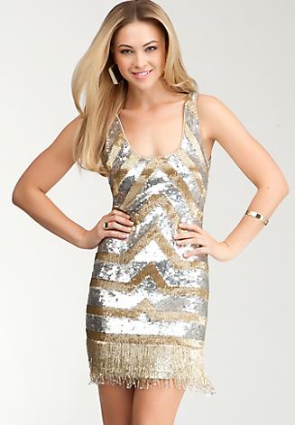 Bebe Sequin & Bead Tank Dress