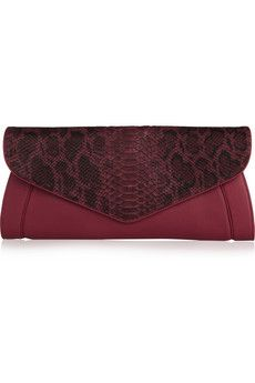 See by Chloe  Anna Leather and Python-Effect Clutch