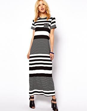 ASOS Maxi Dress In Graduated Stripe Print