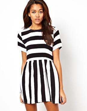 Motel Penny Smock Dress With Bold Stripes