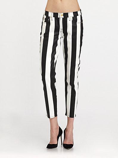 7 For All Mankind Crop Slim Striped Cigarette Jeans