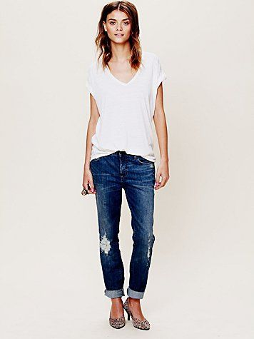 Free People High Rise Patched Menswear Skinny Jeans