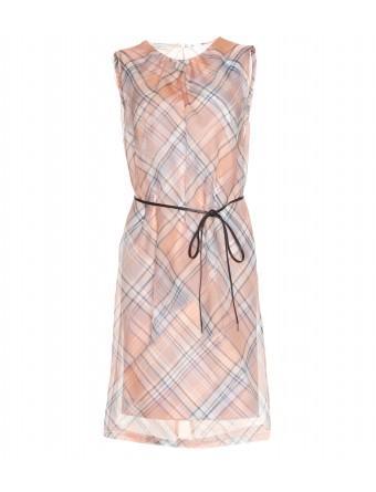 Dries van Noten  Plaid Dress with Sheer Chiffon Overlay