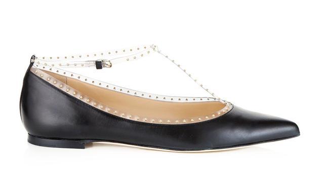Bionda Castana Black Leather PVC Studded Flats