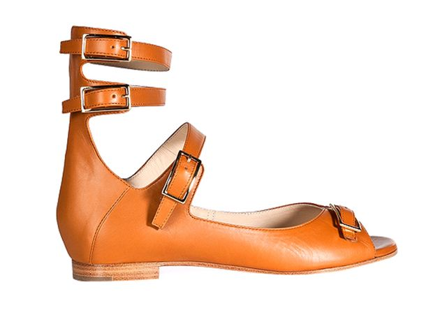 Chloe Leather Strappy Open Toe Flats