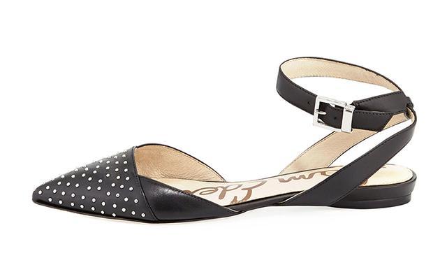 Sam Edelman Brina Studded Pointy-Toe Ankle-Wrap Flats