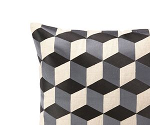 Cubism Graphite Embroidered Pillow