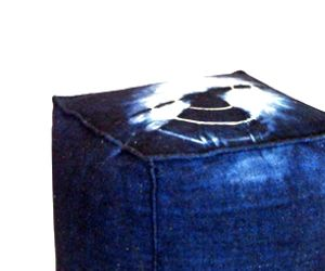 Blue and White Tye Dye Ottoman