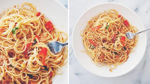 Yummy Chitarra Pasta with Spicy Arrabbiata Sauce