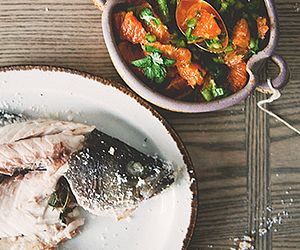 Roasted Sea Bass with Spicy Orange Salsa