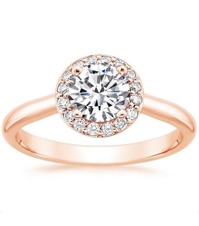 Brilliant Earth 14k Rose Gold Halo Diamond Ring