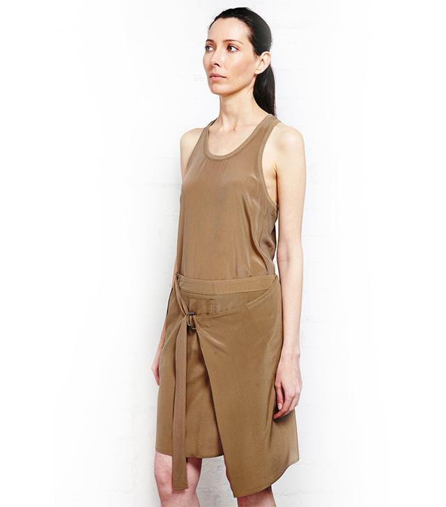 Damir Doma Resha Silk Taupe Short Wrap Skirt