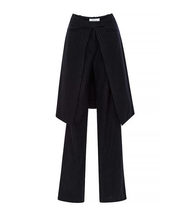 Derek Lam 10 Crosby Midnight Blue Pinstriped Wool Wrap Skirt Trousers