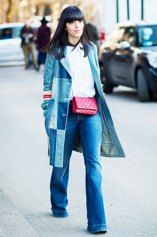 Blogger Laura Comolli's denim patchwork jacket is the outerwear piece we never knew we needed.